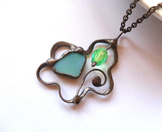 Copper wire necklace, contemporary pendant, anniversary gift, turquoise green pendant, stained glass necklace, bohemian jewelry