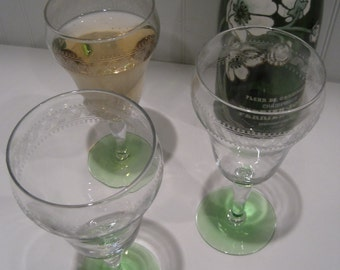 3 etched depression champagne/wine glasses with green base/two tone wine glasses