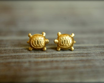 Little Turtle Earring Studs in Raw Brass or Raw Copper, Stainless Steel Posts