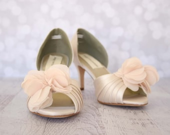 Wedding Shoes --Blush Wedding Peep Toe Wedding Shoes Chiffon Flower Off Center on Toe