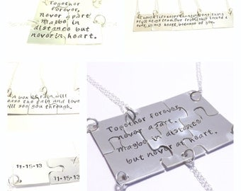 Hand Cut Puzzle Piece Necklace Set- Together Forever, Never Apart, Bridesmaid Jewelry, Family, Personalized Jewelry by Miss Ashley Jewelry