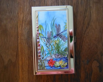 "Business Card Holder/ Credit Card RFDI Blocking Case.   ""Bonding"" Dragonfly Made in Hawaii with Aloha"