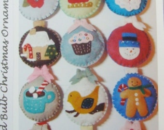 Christmas PDF Instant Download Pattern-12 Ornaments-Felt Hand Sewing