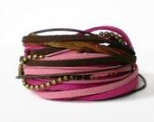 boho wrap bracelet, suede leather wrap, ball chain ribbon bracelet, pink, brown, rocker cuff, triple wrap bracelet