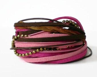 bohemian wrap bracelet, pink brown multistrand wrap bracelet, ball chain ribbon bracelet, rocker cuff, triple wrap bracelet, gift for her
