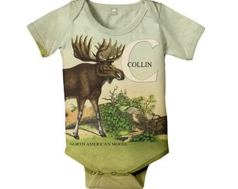 Personalized Baby Boy Bodysuit, Moose Woodland Animal Baby One Piece, Onepiece Baby Clothing