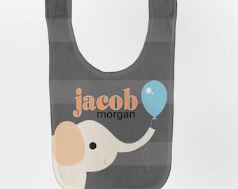Boy's Elephant Baby Bib, Personalized Baby Bib, Baby Boy Elephant Bib, Custom Infant Bibs