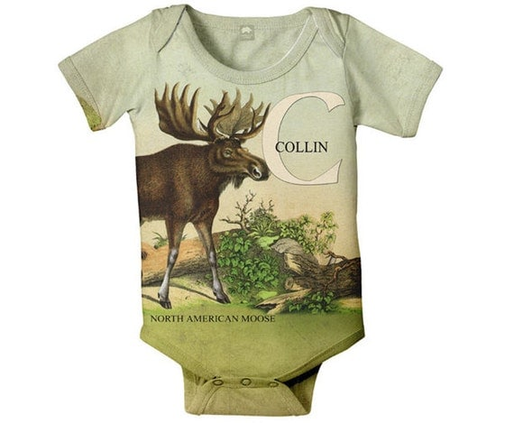 Personalized Baby Boy Bodysuit Moose Woodland Animal Baby One