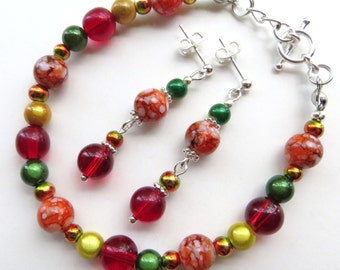 RED COLOR SPLASH- Beaded Bracelet and Earring Set- Multicolored Bracelet with Dangle Post Earrings