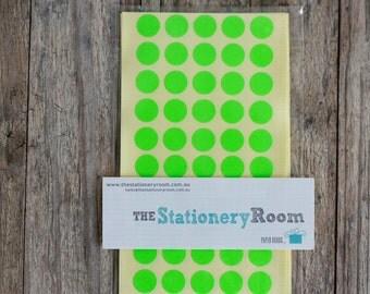 Mini Neon Green Circle Stickers - 1cm Circle Label Sticker Seals - 200 Blanks per set