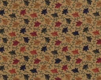 Sweet Pea Fabric Collection by Kansas Troubles - Tan Split Leaves 9402-11 - 1 Yard