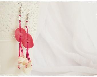 Long Button Earrings, Pink Dangling Earrings, Polymer Clay Earrings, Sea Shell Earrings, Pink Kawaii Earrings, Beaded Boho Earrings Jewelry