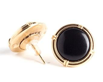 SALE 20% - black gold plated earrings, stud earrings, bridal earrings, spacial post earrings, vintage earrings