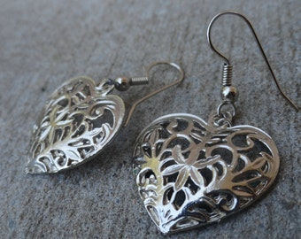 Vintage Lace Heart Earrings