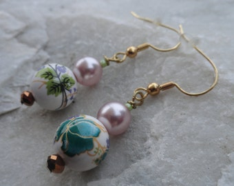 Floral and Lavendar Beaded Earrings