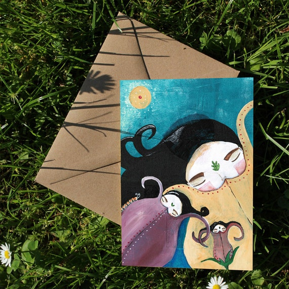 Sleeping Bhoomies Very Cute Art Print OR Greeting Card