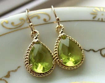 Peridot Earrings Gold Apple Green Jewelry Teardrop Gold Rope Style - Bridesmaid Earrings Wedding Jewelry Bridal Earrings Valentines Day Gift