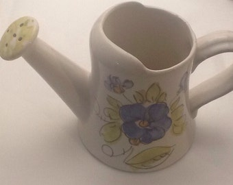 Watering Can/Pitcher Ceramic Blue flowers green leaves Made in Italy FTD 5 inches tall opening 3.25