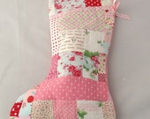 Pink Festive Patchwork Christmas Stocking