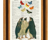 Butterfly art, Penguins watching Butterflies art Dictionary, vintage image butterflies collage book page,country cottage decor wall hanging