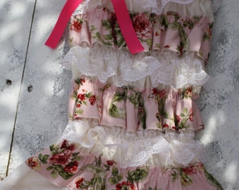 Shabby chic,vintage  petti romper  for 1T,2T,3T,4T, photoprop, weddings,flower girl dress,birthdays and valentines