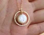 Karma necklace,Coin pearl necklace,bridesmaid gifts,mothers gift,Hammered karma cirle,encircled coin pearl,best friend gift,circle pendant