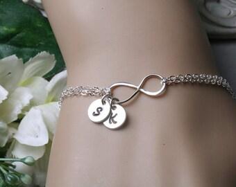 Infinity initial bracelet,Two initial letter charm,Couple,infinity bracelet,sisterhood,customize birthstone,wedding