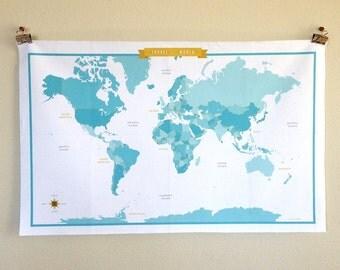 World Map Fabric - Blue/Aqua/Turquoise - modern design print - 1 fat quarter