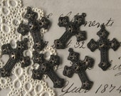 Oxidized Brass Filigree Cross Charms Stampings 25mm 1 inch Tall New (6)