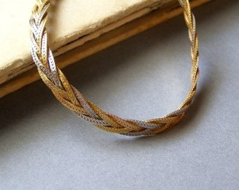 Antique 18k Gold Braid Necklace Choker Classic Bride Jewelry, Gift for Fiance Wife Anniversary, High Fashion Evening Jewelry Mad Men Vintage
