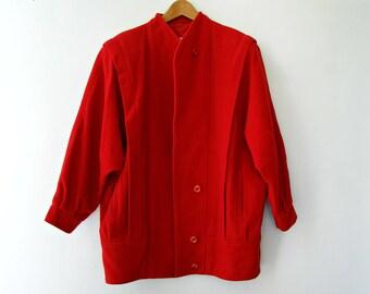 Vintage Red Wool Coat, 80s Bat Sleeve Coat L, Pure wool Womens Outwear, Heavy Duty Long Wrap Jacket, Winter Travel Fashion, Christmas gift