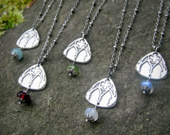 Cathedral Window Necklace with Your Choice of Semi-Precious Stone- Artisan Handcrafted with Recyled Fine Silver