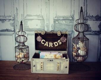 Wedding Card Holder-Wedding Card Box-Beach wedding-Trunk-Suitcase-Wood trunk-Wedding Card Box and card sign