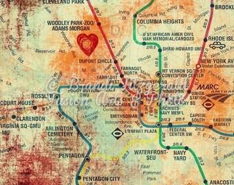 Washington DC Transportation Map Wall Decor Product Options and Pricing via Dropdown Menu