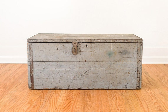 Vintage Distressed Wood Farmhouse Shop Trunk By Homesteadseattle