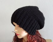 Sacking Winter Hat - Autumn Accessories - Slouchy Beanie Hat Oversized Hat - Chunky Knit - Mens Slouchy Black or ANY COLOR slouchy knit hats