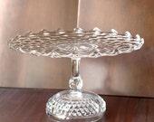 "Wedding Cake Stand / 14"" Vintage Cake Pedestal Stand / Cake Plate Pedestal / Vintage Crystal Glass Truffle Pedestal / Cupcake Stand"
