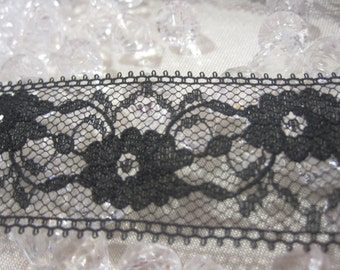 Black Floral Lace 1 1/8 inches wide 1 Yard