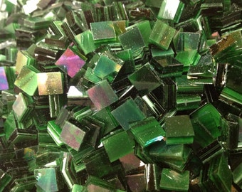 "IRIDIZED DARK GREEN - Irid Stained Glass Mosaic Tile Supply (1/2"")"