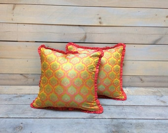 Orange, Kiwi and Pink Jacquard Pillow With Ruffle