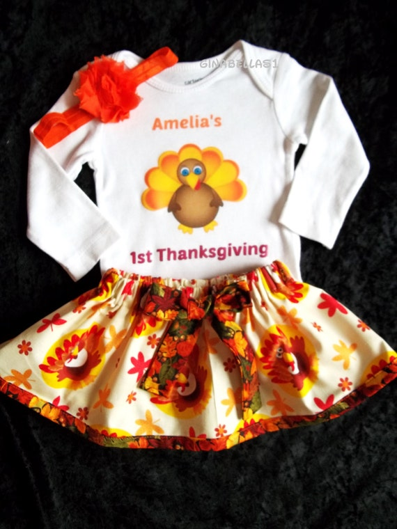 Personalized Onesie Thanksgiving Outfit Baby Girl First
