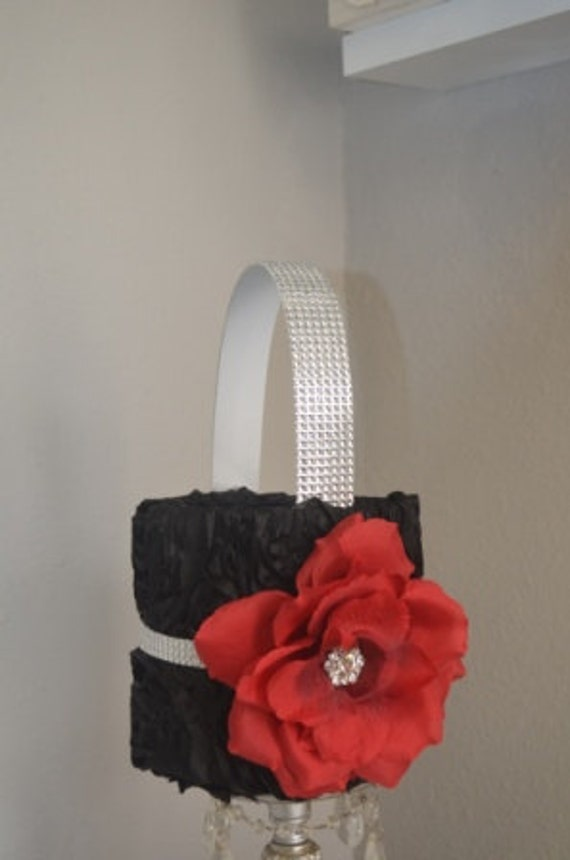 Red and Black Flower Girl Basket - Black basket with silver glitter wrap  and red rose