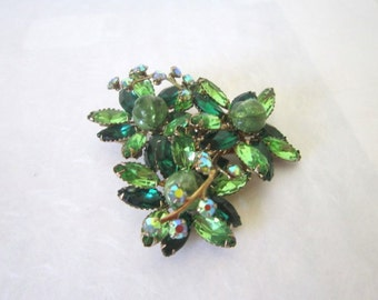 Vintage Jewelry Green Brooch Pin Large Brooch Emerald Green Pin Midcentury Jewelry Pin  Chech Crystals Stones Floral Pin 1950 Pin Brooch