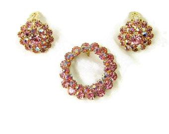 Stunning Midcentury Pink Glass Beaded Jewelry Set Vintage Round Pink Jeweled PinMatching Cluster Earrings Faceted Pink AB Cyrstal Stones