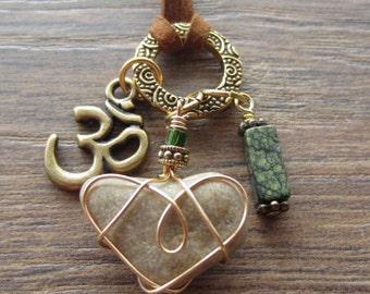 Ohm Charm Necklace wth Rectangular Green Serpentine Gemstone and Brass Ohm Charm Yoga Jewellry Boho Chic