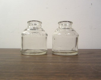 Antique Watermans Clear Glass Ink Bottles (Set of Two)