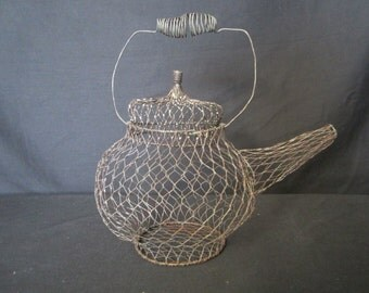 Vintage Teapot shaped wire basket