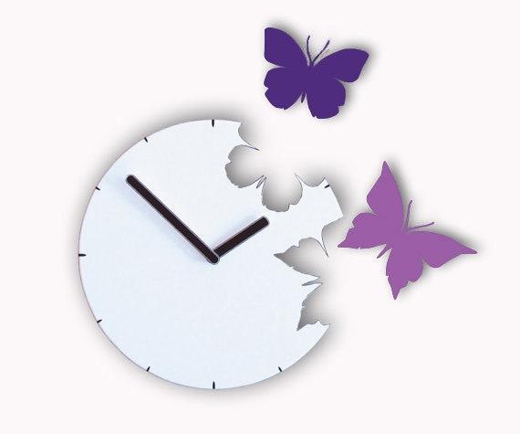 Two purple butterflies Wall Clock