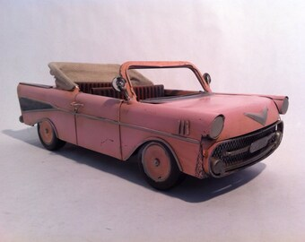 Tin car 57 Chevy Convertible Car - American Classic Pink Chevrolet Tin Car Toy Desk Ornament - Gift for  Her