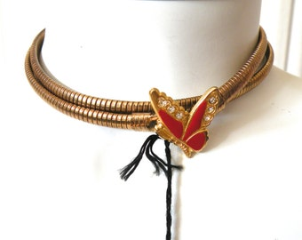 80s Gold Red Butterfly Stretch Belt or necklace